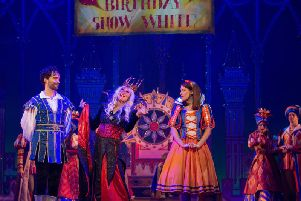 The cast of Snow White at Bradford's Alhambra Theatre