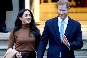 Prince Harry, Duke of Sussex and Meghan, Duchess of Sussex depart Canada House on January 07 (Photo by Chris Jackson/Getty Images)