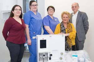 Consultant surgeon, Barbara Fiore; Operating department practitioners, Helen ONeill and Amanda Gibson-Mills; patient Gail Hill; consultant surgeon, Magdy Attia.