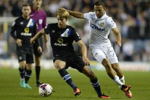 Martin Samuelsen battles with former Leeds striker Kemar Roofe in an EFL Cup game while he was on loan at Blackburn back in 2016. Picture: Bruce Rollinson