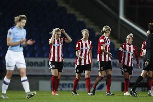 Sheffield United players show their frustration during the Women's Continental League Cup match against Manchester City. Picture: James Wilson/Sportimage