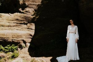 On location at Brimham Rocks for the AW19/20 Sappho collection, the Blossom blouse and the Honey skirt, both from Rolling in Roses.'Shutter Go Click Photography (photo.shuttergoclick.com/index); hair and make-up - Jenn Edwards & Co (jennedwards.com)
