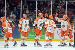 Sheffield Steelers' celebrate during their 5-4 win at Cardiff Devils on SAturday night. Picture courtesy of Dave Williams/EIHL.