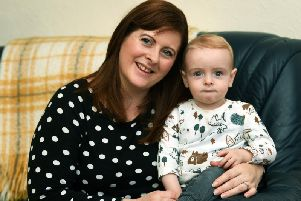 Rachel McNab with son Finlay, 14 months, who inspired a year of fundraising after his care at Harrogate District Hospital. Image: Jonathan Gawthorpe.
