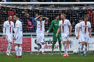 DAY TO FORGET: Bradford City's players after Mansfield's second goal. Picture: Jonathan Gawthorpe.