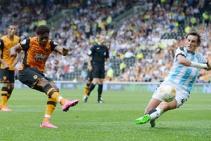 Hull City's Chuba Akpom scores his side's second goal against Huddersfield Town in August 2015. Picture: Anna Gowthorpe
