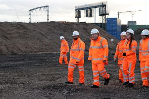 Boris Johnson meets contractors at the site of the Curzon Street HS2 station in Birmingham
