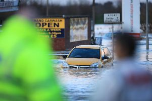 Flooding in the town of Snaith in East Yorkshire after the River Aire burst its banks. PA Photo. Picture date: Tuesday February 25, 2020. See PA story WEATHER Storm. Photo credit should read: Danny Lawson/PA Wire