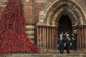 German President Joachim Gauck and the Princess Royal  leave St Magnus Cathedral in Kirkwall, Orkney, after a service to mark the centenary of the Battle of Jutland.