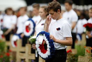 The service to mark the 100th anniversary of the start of the battle of the Somme at the Commonwealth War Graves Commission Memorial in Thiepval, France, where 70,000 British and Commonwealth soldiers with no known grave are commemorated.