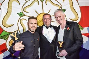 Gary Barlow, Sir Gary Verity & Tim Firth at the 2015 WRA at first direct arena, Leeds.