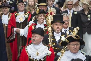 A town crier and a parade of Lord Mayors, Mayors and other Civic Heads from across Yorkshire make their way through Halifax during the Yorkshire Day Celebrations.