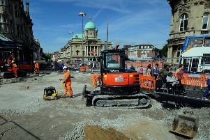 Work being carried out on Queen Victoria Square, in Hull, this week. (Pictures: Simon Hulme).