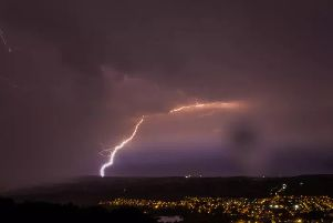 Lightning over Otley last night. Picture: James Day.