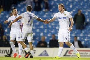 Chris Wood celebrates his winning goal with Kemar Roofe and Pablo Hernandez.  Picture: Bruce Rollinson