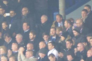 Andrea Radrizzani pictured far left, holding up a mobile phone, at yesterday's game between Leeds United and Newcastle United.