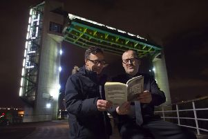Artist Michael Pinsky and poet Dean Wilson on the first night of The City Speaks. Picture: Sean Spencer/Hull News & Pictures Ltd