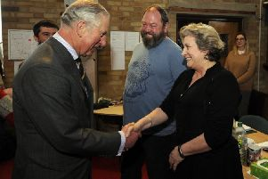 Prince Charles met actor Mark Addy at the Holy Apostles' Church, Hull. Picture by Simon Hulme