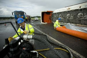 Adler & Allan responds to a hazardous spill when a tanker overturns.