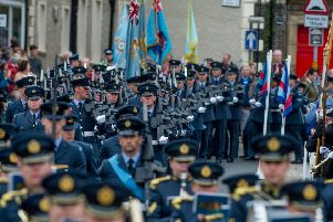 RAF Personnel from 2 Force Protection Wing, incorporating 34 Sqn RAF Regiment based at RAF Leeming, parade through Richmond, North Yorkshire, as they exercise their freedom of the town to mark the Corps' 75th Anniversary. Picture James Hardisty.