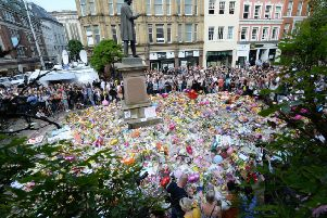 A shrine to victims of the Manchester atrocity.
