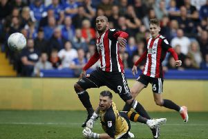 Leon Clarke scored twice for Sheffield United in the 4-2 win over Sheffield Wednesday earlier this season (Photo: Sportimage)