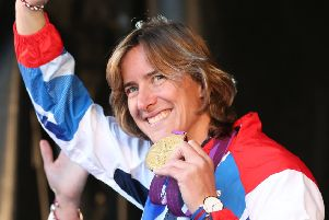 Rowing Olympian gold medallist Katherine Grainger acknowledges the crowd during the official victory parade for Scotland's Olympic and Paralympic teams in Glasgow  in 2012. (Picture: PA)