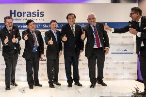 Dr Frank-J�rgen Richter, right, launches Horasis in Sheffield, with LEP chair Sir Nigel Knowles, second right, with Chinese and UK supporters.