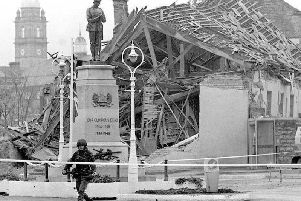 File picture of the scene in Co Fermanagh town where an IRA bomb exploded without warning ahead of a Remembrance Sunday memorial ceremony. Picture: Chris Bacon/PA Wire