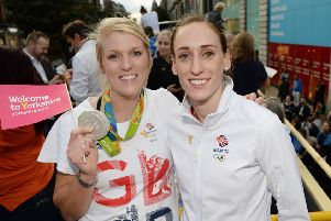 Great Britain's Zoe Lee (left) and Laura Weightman during the homecoming event in Leeds City Centre. (Picture: Anna Gowthorpe/PA Wire)
