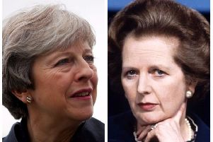 Theresa May and Margaret Thatcher.