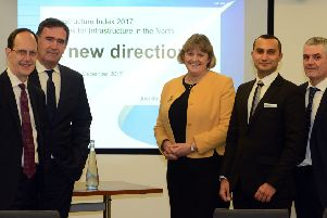 John Cridland ,John Mothersole, Dr Louise Brooke-Smith, Daniel Atzari and CMS Partner Martin McKervey at the Infrastructure Index 2017 launch at CMS in Sheffield. Picture Scott Merrylees.