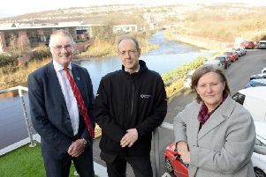 Richard Wright, executive director of Sheffield Chamber of Commerce, at the unveiling of the new flood defences, with Environment Agency chief executive Sir James Bevan and Sheffield Council leader Julie Dore