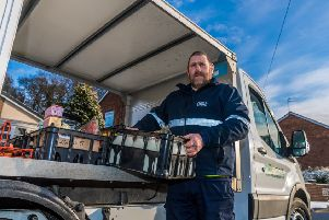 Milkman Keith Adams, works for milk&more, a Hull Dairy, based at Charles Street, Hull. This company has seen a huge increase in demand following the concerns over plastic pollution resulting in more people buying milk in bottles and wanting their own local milkman.