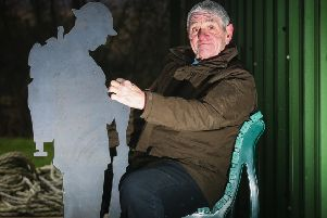 Keith Thompson, Chairman of the Goathland Community Hub & Sports Pavilion, with a prototype of one of the steel soldiers which will be situated around the grounds.'Friday 9 February. Picture: Ceri Oakes