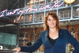 Tracey Emin unveils her 20-metre-long work, I Want My Time With You, 2018. Picture John Stillwell/PA Wire.