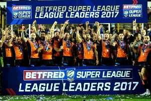 Castleford's players celebrate the League Leaders Shield last year.