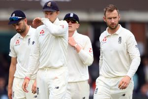 Captain Joe Root and his England team-mates troop disconsolately from the field at Lord's on Sunday after losing the first Test to Pakistan by an emphatic nine-wicket margin (Picture: Adam Davy/PA Wire).