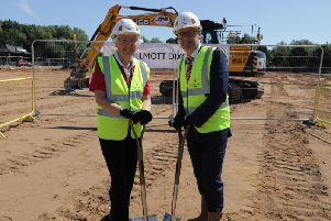 Doncaster Mayor Ros Jones and Anthony Dillon from Willmott Dixon at the Herten Triangle site