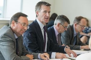 Sheffield City Region Mayor Dan Jarvis chairing a meeting at the Advanced Manufacturing Park in Rotherham. Picture: Dean Atkins/The Star