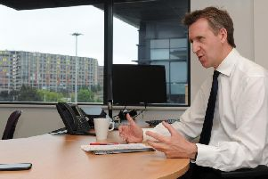 Sheffield City Region mayor Dan Jarvis at his office in Broad Street West. Picture: Andrew Roe/The Star