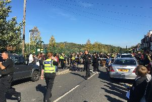The scene outside Fir Vale School after a riot broke out following a fight between students (photo submitted).