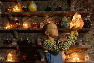 Mia Miles, 9, takes on the part of Sophie in the BFG's cave at'York Art Gallery