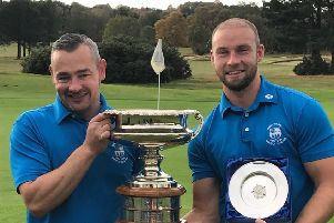 Yorkshire foursomes champions for 2018, Terry Brushwood, left, and Andy Town of Bingley St Ives (Picture: YUGC).