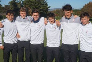 Rotherham's Ben Schmidt, second left, with England boys team-mates in Limerick (Picture: England Golf).