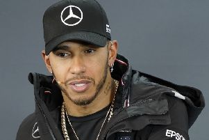 Mercedes driver Lewis Hamilton, of Britain, speaks during a news conference for the Formula One U.S. Grand Prix. (AP Photo/Darren Abate)