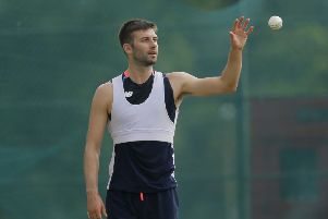 England's Mark Wood, pictured during a practice session in Sri Lanka. Picture: AP/Eranga Jayawardena