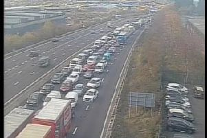 Traffic is building at the scene of a four vehicle collision on the M1 near Sheffield (photo: Highways Agency)