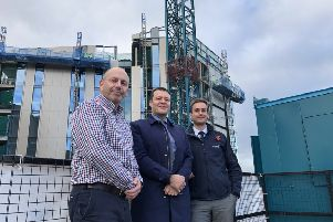 New horizons: (L-R) Mike Diaz and Bill Jones, both at Leeds City College, and Dave Clarke, Wates Construction, at the new Quarry Hill campus. Pic: Ismail Mulla