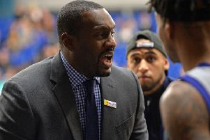LEADING THE WAY:  Sheffield Sharks' head coach Atiba Lyons gets his message across in the recent BBL encounter against Glasgow Rocks at EIS Sheffield.  Picture: Bruce Rollinson